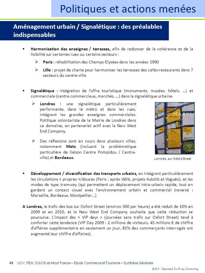 © 2011 Deloitte & Du Rivau Consulting 49 Politiques et actions menées Aménagement urbain / Signalétique : des préalables indispensables Harmonisation