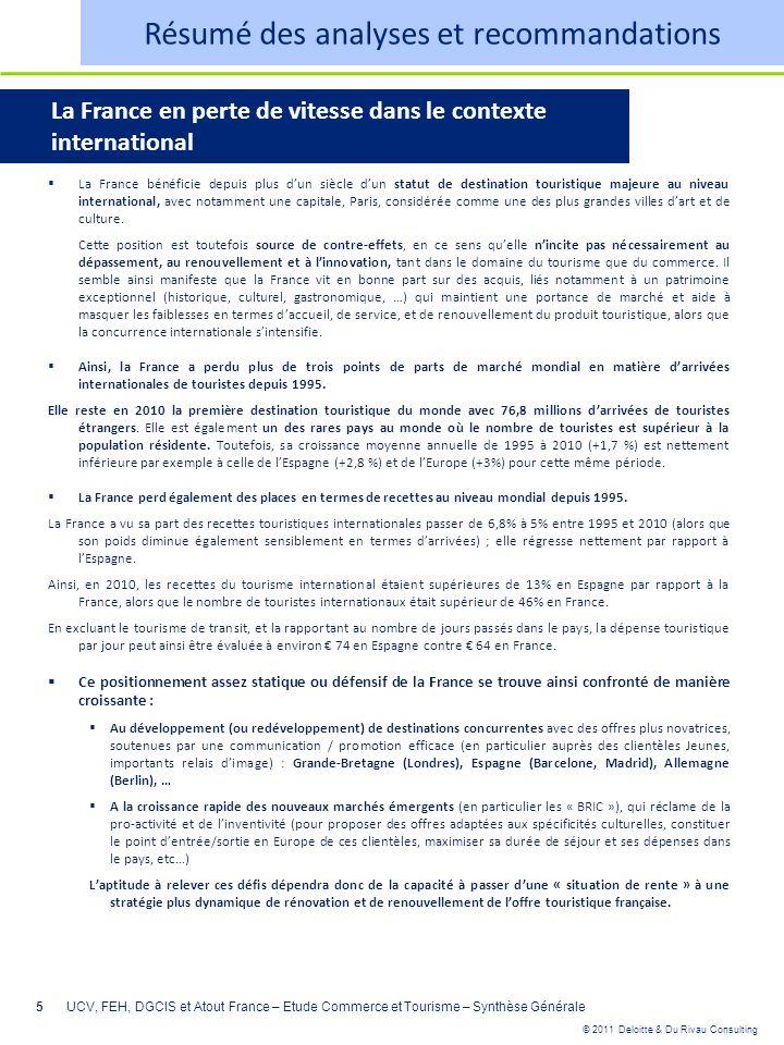 © 2011 Deloitte & Du Rivau Consulting 5UCV, FEH, DGCIS et Atout France – Etude Commerce et Tourisme – Synthèse Générale Résumé des analyses et recomma