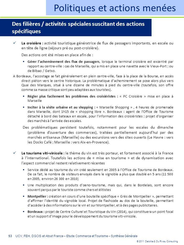 © 2011 Deloitte & Du Rivau Consulting 53 Politiques et actions menées Des filières / activités spéciales suscitant des actions spécifiques La croisièr