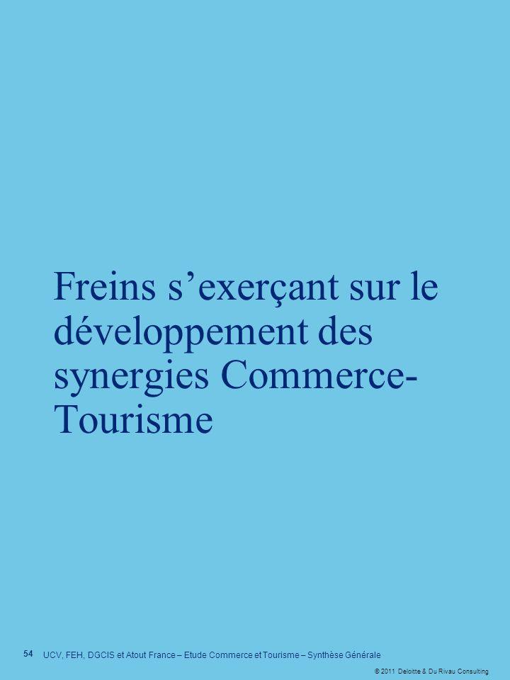 © 2011 Deloitte & Du Rivau Consulting Freins sexerçant sur le développement des synergies Commerce- Tourisme 54 UCV, FEH, DGCIS et Atout France – Etud