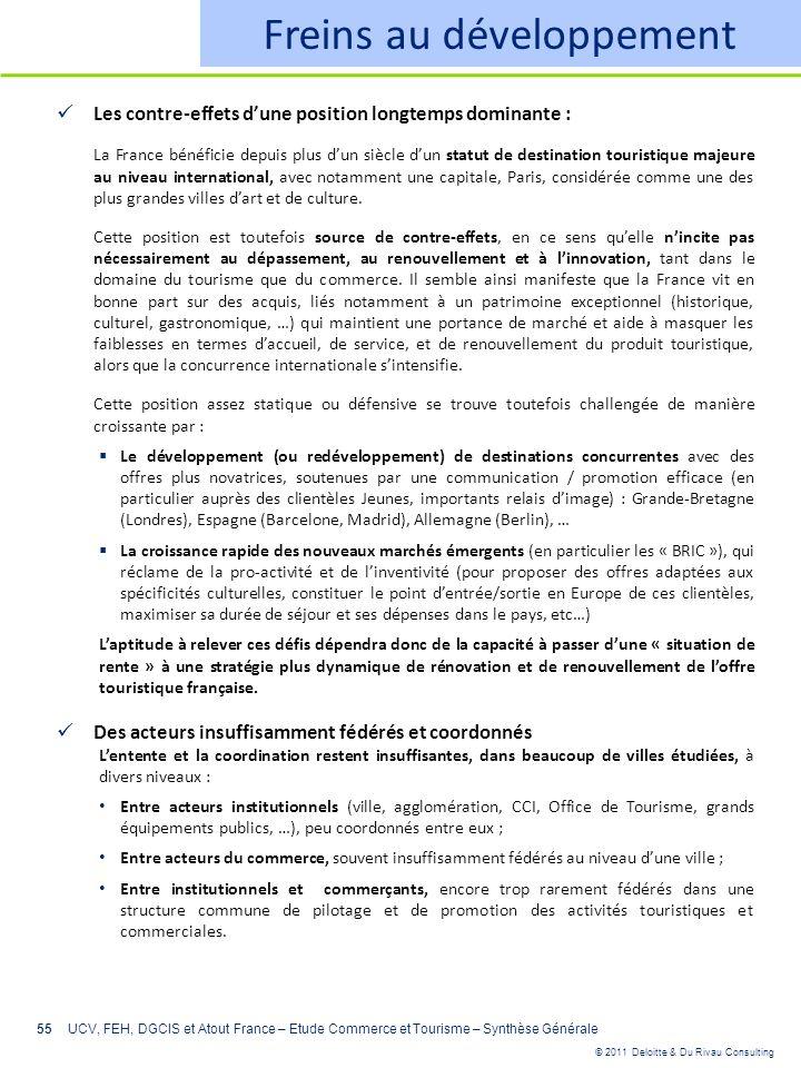 © 2011 Deloitte & Du Rivau Consulting 55 Freins au développement Les contre-effets dune position longtemps dominante : La France bénéficie depuis plus