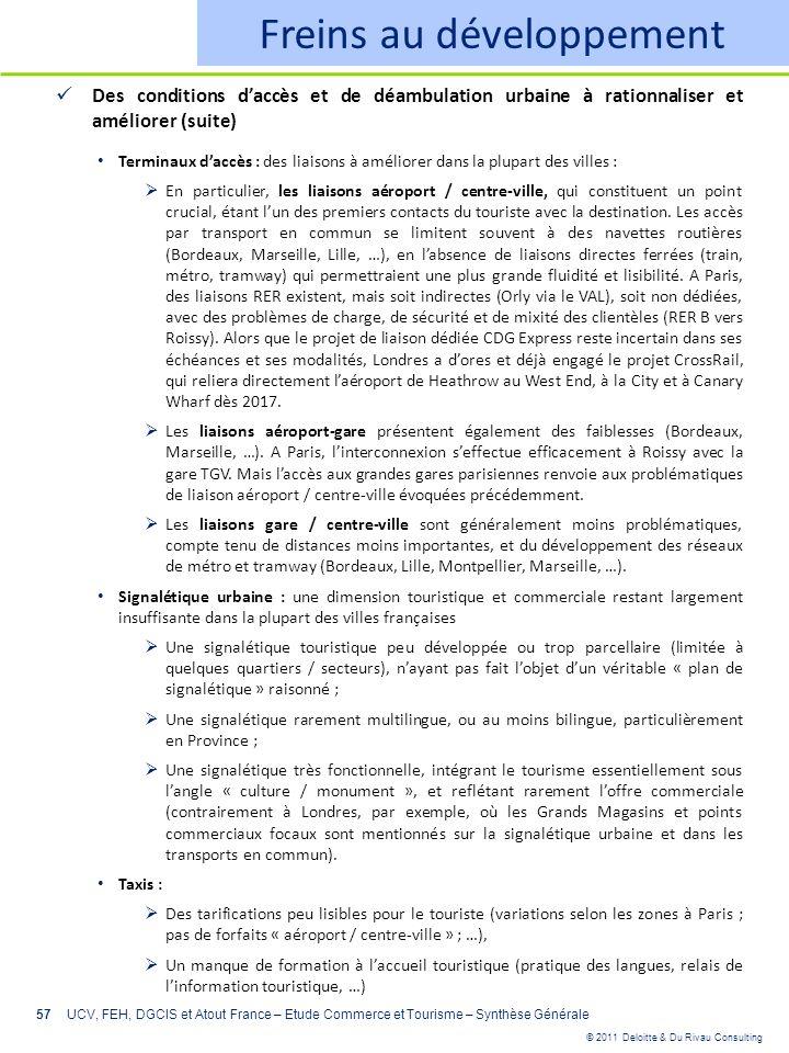 © 2011 Deloitte & Du Rivau Consulting 57 Freins au développement Des conditions daccès et de déambulation urbaine à rationnaliser et améliorer (suite)