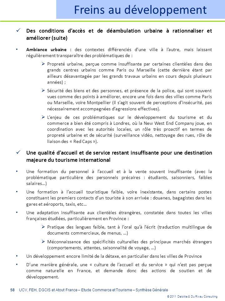 © 2011 Deloitte & Du Rivau Consulting 58 Freins au développement Des conditions daccès et de déambulation urbaine à rationnaliser et améliorer (suite)