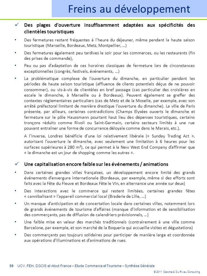 © 2011 Deloitte & Du Rivau Consulting 59 Freins au développement Des plages douverture insuffisamment adaptées aux spécificités des clientèles tourist