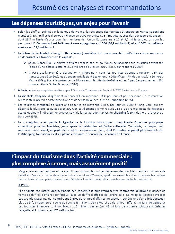 © 2011 Deloitte & Du Rivau Consulting 6 UCV, FEH, DGCIS et Atout France – Etude Commerce et Tourisme – Synthèse Générale Les dépenses touristiques, un