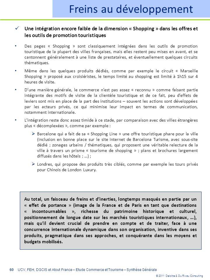 © 2011 Deloitte & Du Rivau Consulting 60 Freins au développement Une intégration encore faible de la dimension « Shopping » dans les offres et les out