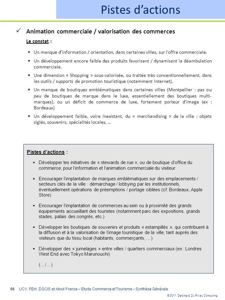 © 2011 Deloitte & Du Rivau Consulting 66 Pistes dactions Animation commerciale / valorisation des commerces Le constat : Un manque dinformation / orie