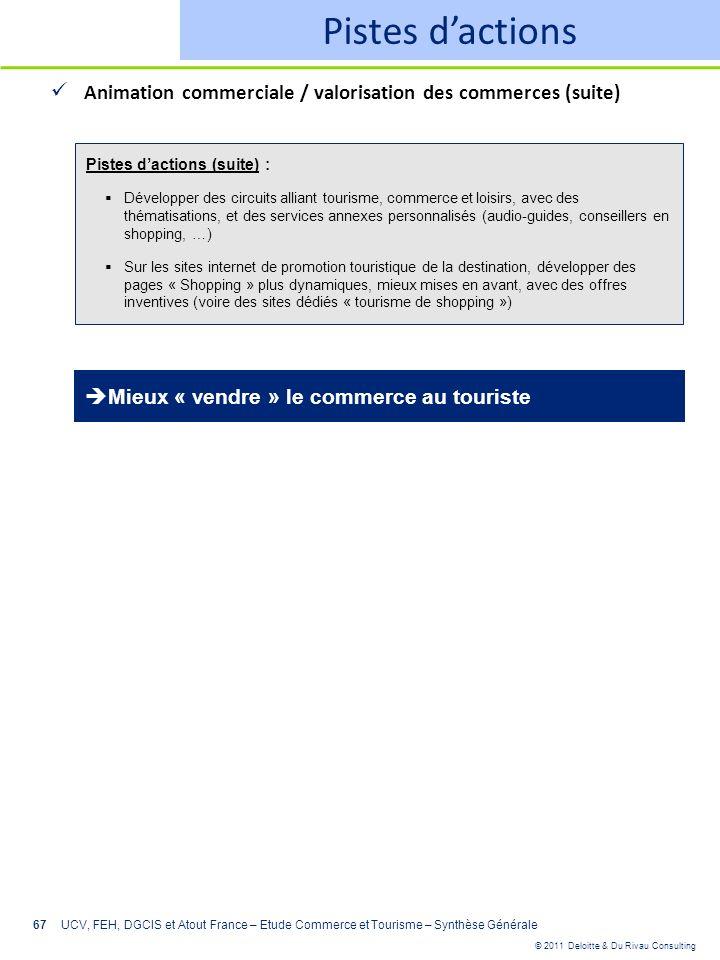 © 2011 Deloitte & Du Rivau Consulting 67 Pistes dactions Animation commerciale / valorisation des commerces (suite) UCV, FEH, DGCIS et Atout France –