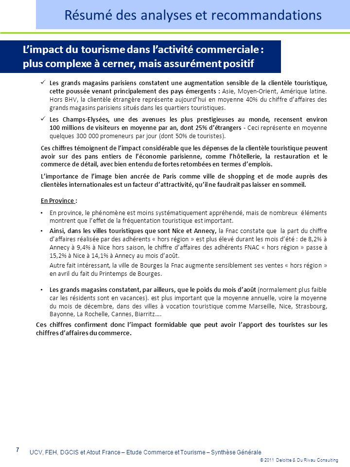 © 2011 Deloitte & Du Rivau Consulting 7 UCV, FEH, DGCIS et Atout France – Etude Commerce et Tourisme – Synthèse Générale Limpact du tourisme dans lact