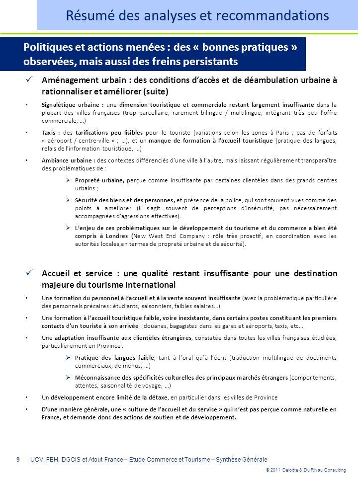 © 2011 Deloitte & Du Rivau Consulting 9 Aménagement urbain : des conditions daccès et de déambulation urbaine à rationnaliser et améliorer (suite) Sig