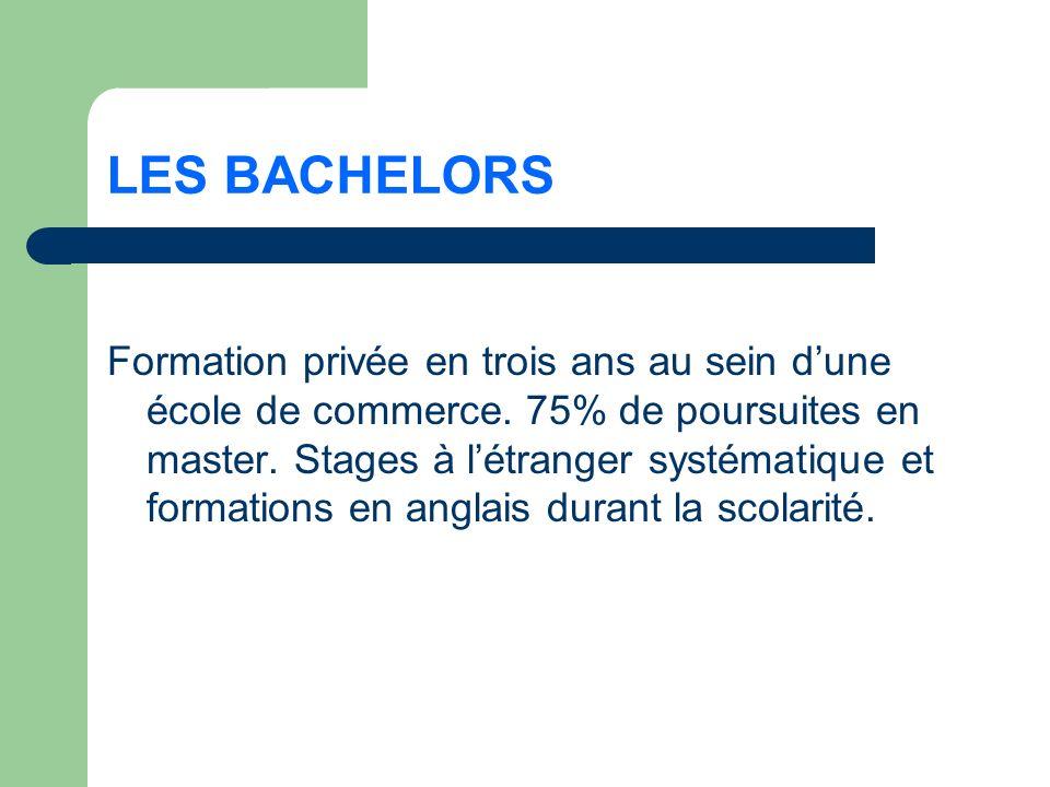 LES BACHELORS Formation privée en trois ans au sein dune école de commerce.