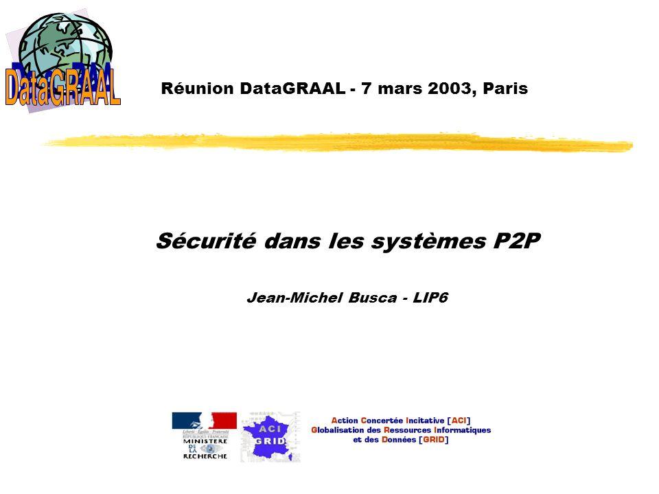 DataGRAAL – 7 mars 2003, Paris Contexte En raison de leur nombre très élevé, pas de confiance dans les sites du système espionnage pannes arbitraires, ou attaques malveillantes Constitue un problème, même pour les systèmes les plus simples stockage de données privées / confidentielles diffusion de données publiques / partagées modification des données