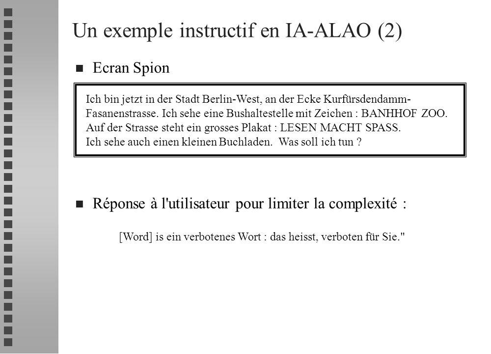 n Ecran Spion n Réponse à l'utilisateur pour limiter la complexité : Un exemple instructif en IA-ALAO (2) Ich bin jetzt in der Stadt Berlin-West, an d