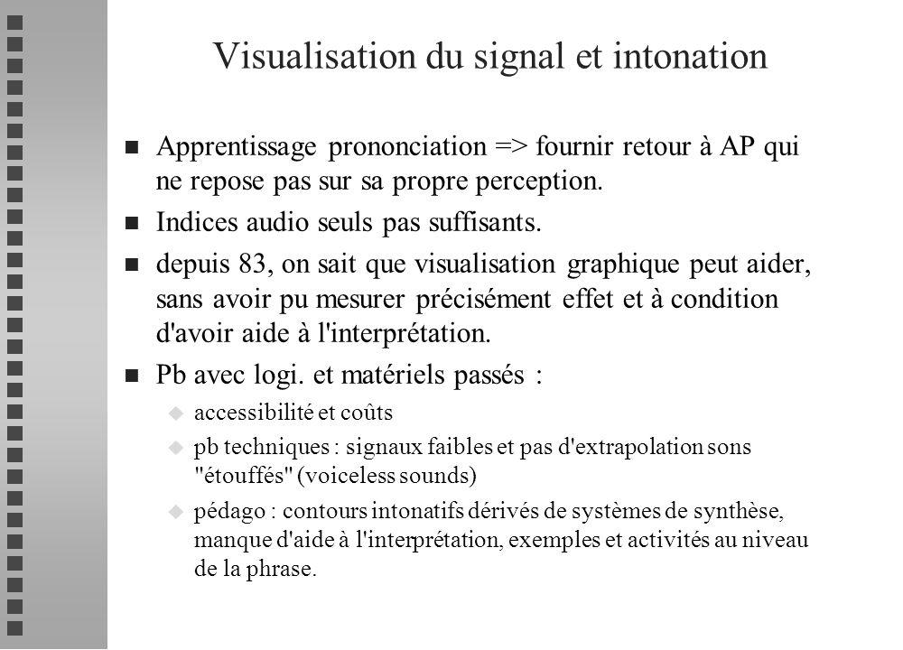 n Apprentissage prononciation => fournir retour à AP qui ne repose pas sur sa propre perception. n Indices audio seuls pas suffisants. n depuis 83, on