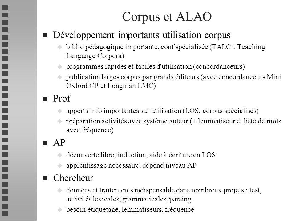 n Développement importants utilisation corpus u biblio pédagogique importante, conf spécialisée (TALC : Teaching Language Corpora) u programmes rapide
