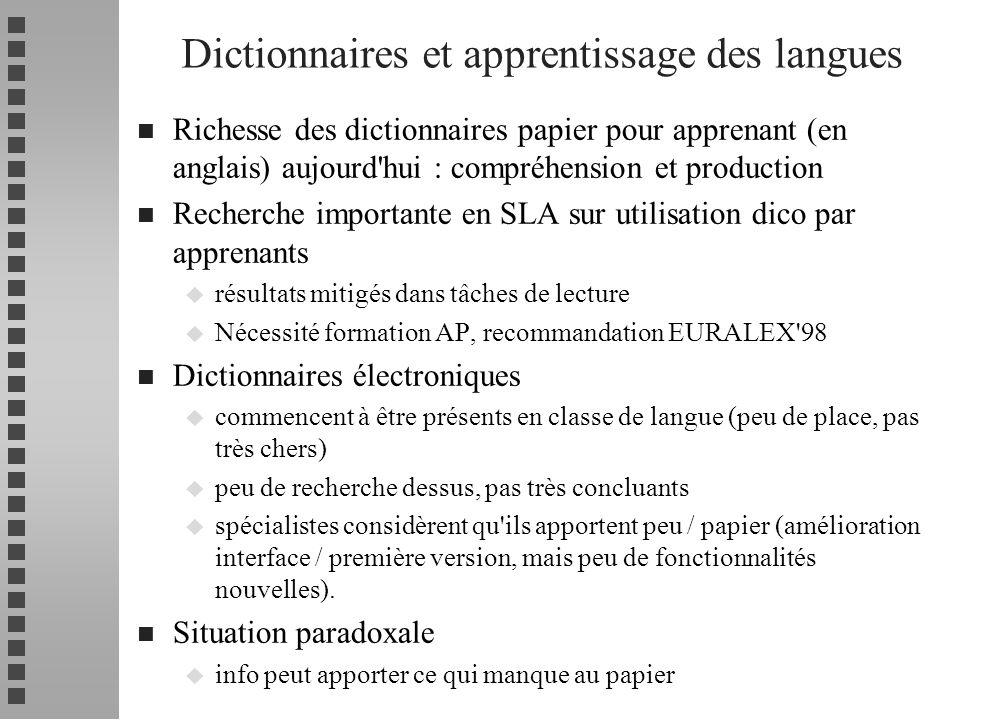 n Richesse des dictionnaires papier pour apprenant (en anglais) aujourd'hui : compréhension et production n Recherche importante en SLA sur utilisatio