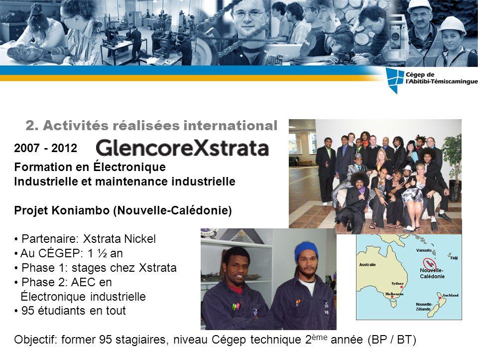 Formation en Électronique Industrielle et maintenance industrielle Projet Koniambo (Nouvelle-Calédonie) Partenaire: Xstrata Nickel Au CÉGEP: 1 ½ an Ph