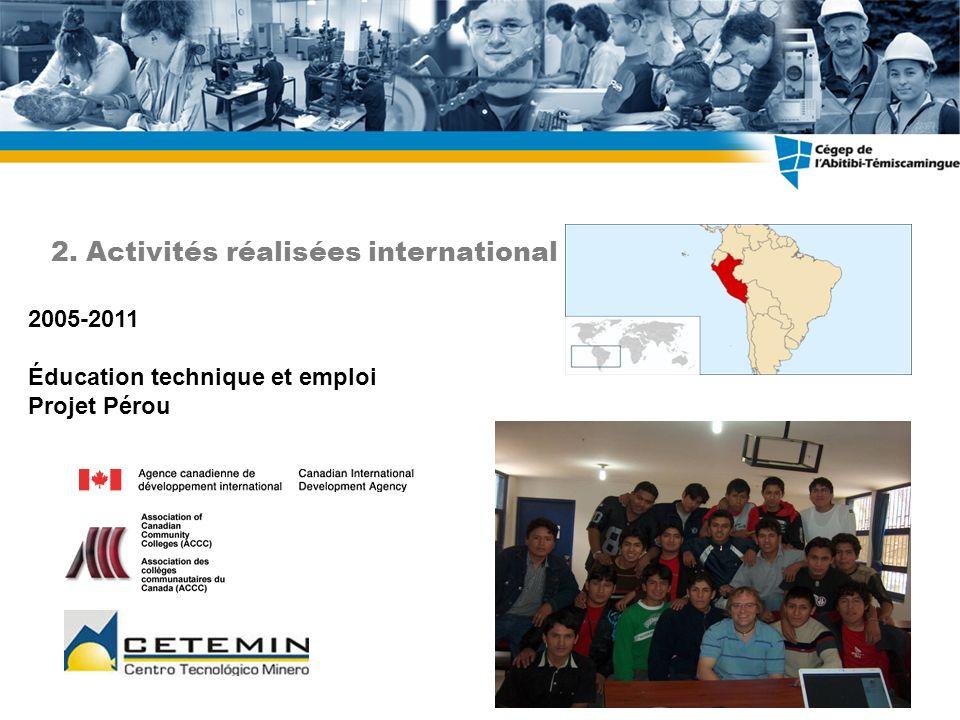 2005-2011 Éducation technique et emploi Projet Pérou 2. Activités réalisées international