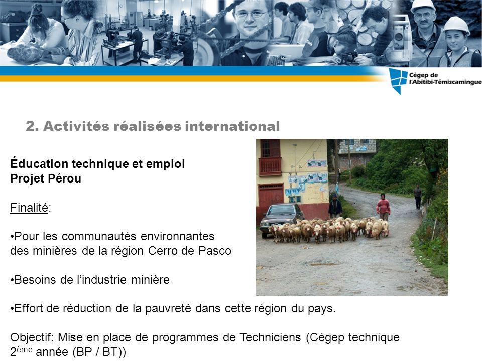 Éducation technique et emploi Projet Pérou Finalité: Pour les communautés environnantes des minières de la région Cerro de Pasco Besoins de lindustrie