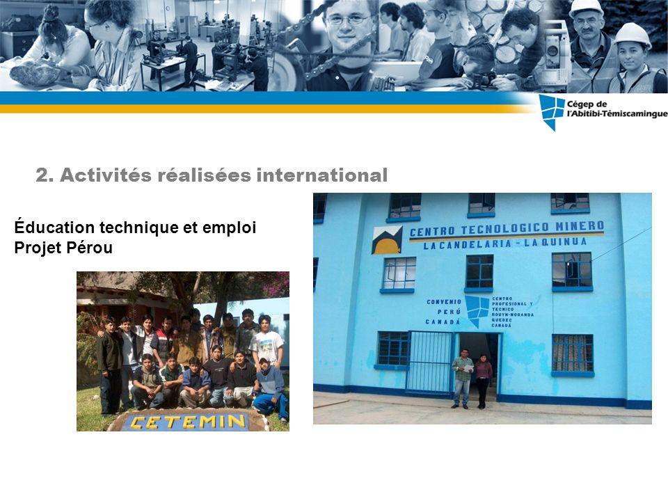 Éducation technique et emploi Projet Pérou 2. Activités réalisées international