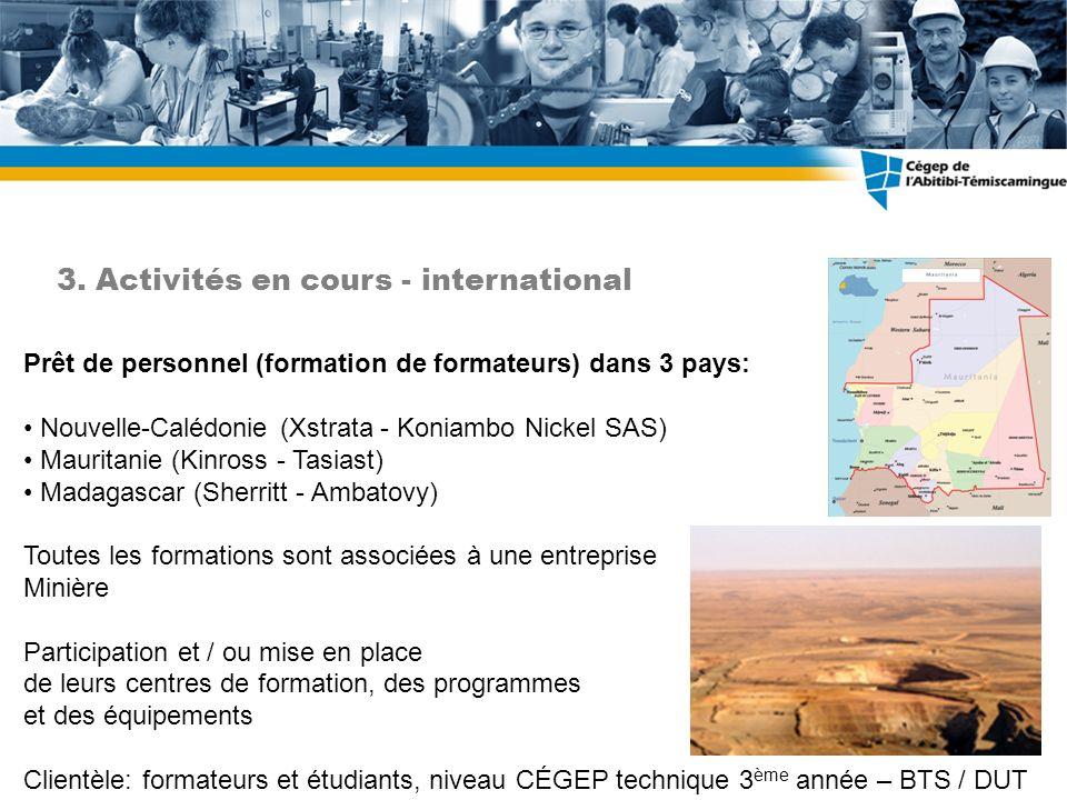 Prêt de personnel (formation de formateurs) dans 3 pays: Nouvelle-Calédonie (Xstrata - Koniambo Nickel SAS) Mauritanie (Kinross - Tasiast) Madagascar