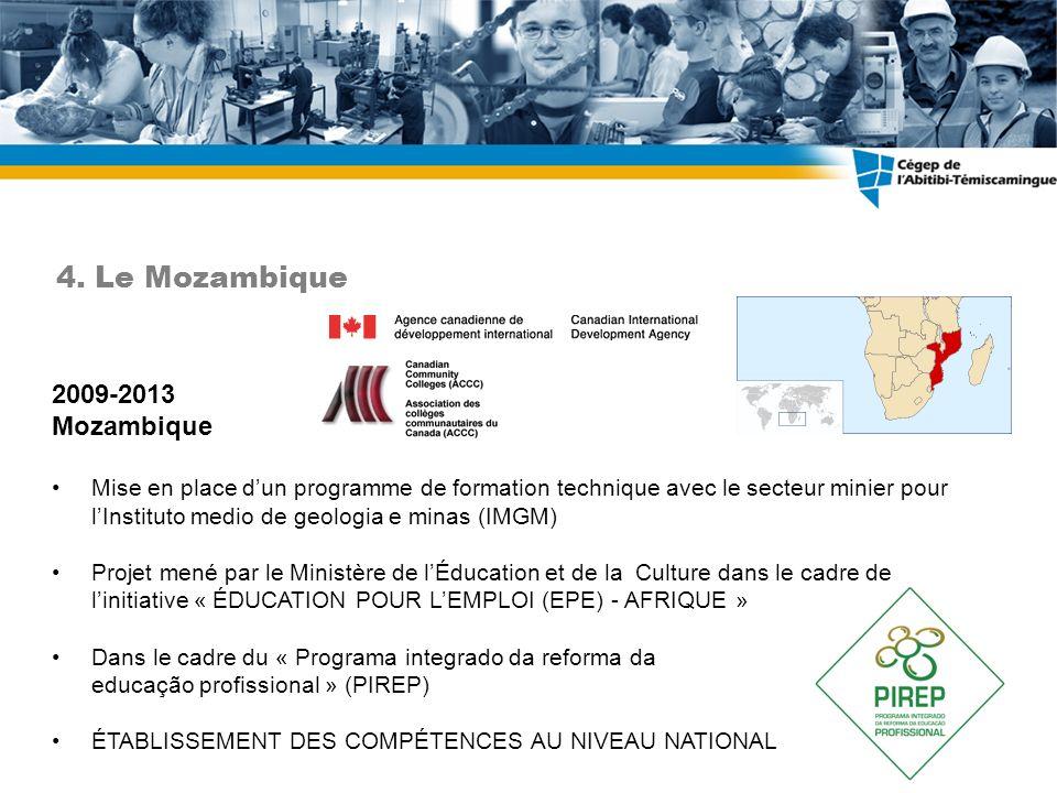 2009-2013 Mozambique Mise en place dun programme de formation technique avec le secteur minier pour lInstituto medio de geologia e minas (IMGM) Projet mené par le Ministère de lÉducation et de la Culture dans le cadre de linitiative « ÉDUCATION POUR LEMPLOI (EPE) - AFRIQUE » Dans le cadre du « Programa integrado da reforma da educação profissional » (PIREP) ÉTABLISSEMENT DES COMPÉTENCES AU NIVEAU NATIONAL 4.