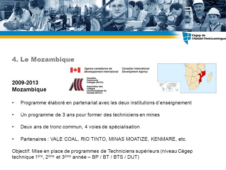 2009-2013 Mozambique Programme élaboré en partenariat avec les deux institutions denseignement Un programme de 3 ans pour former des techniciens en mines Deux ans de tronc commun, 4 voies de spécialisation Partenaires : VALE COAL, RIO TINTO, MINAS MOATIZE, KENMARE, etc.