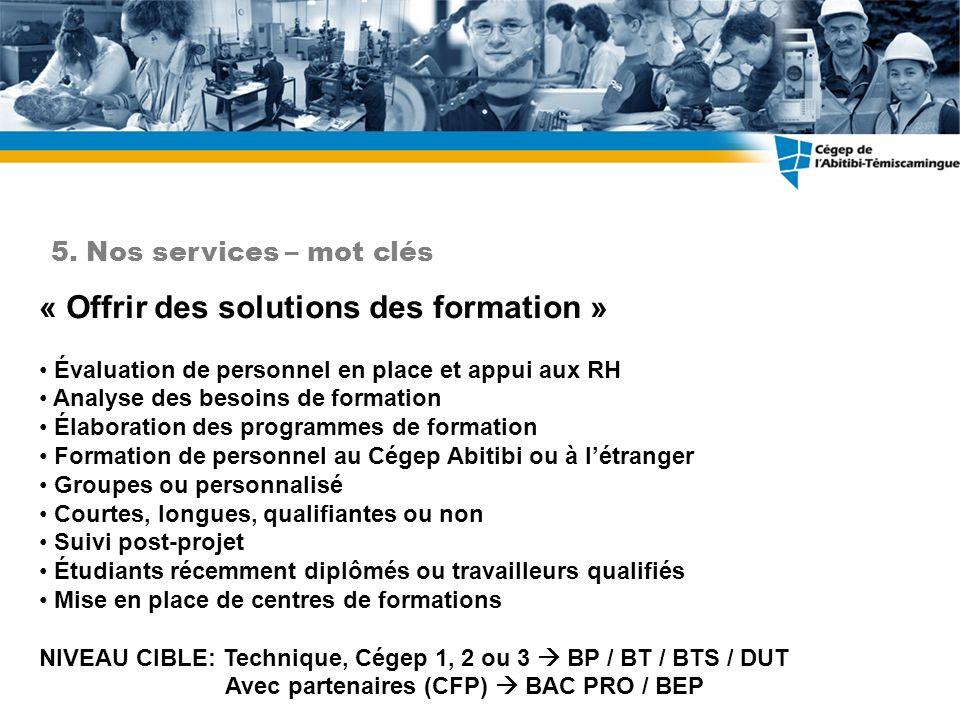 « Offrir des solutions des formation » Évaluation de personnel en place et appui aux RH Analyse des besoins de formation Élaboration des programmes de