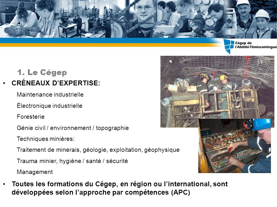 1.Le Cégep CRÉNEAUX DEXPERTISE: Maintenance industrielle Électronique industrielle Foresterie Génie civil / environnement / topographie Techniques min