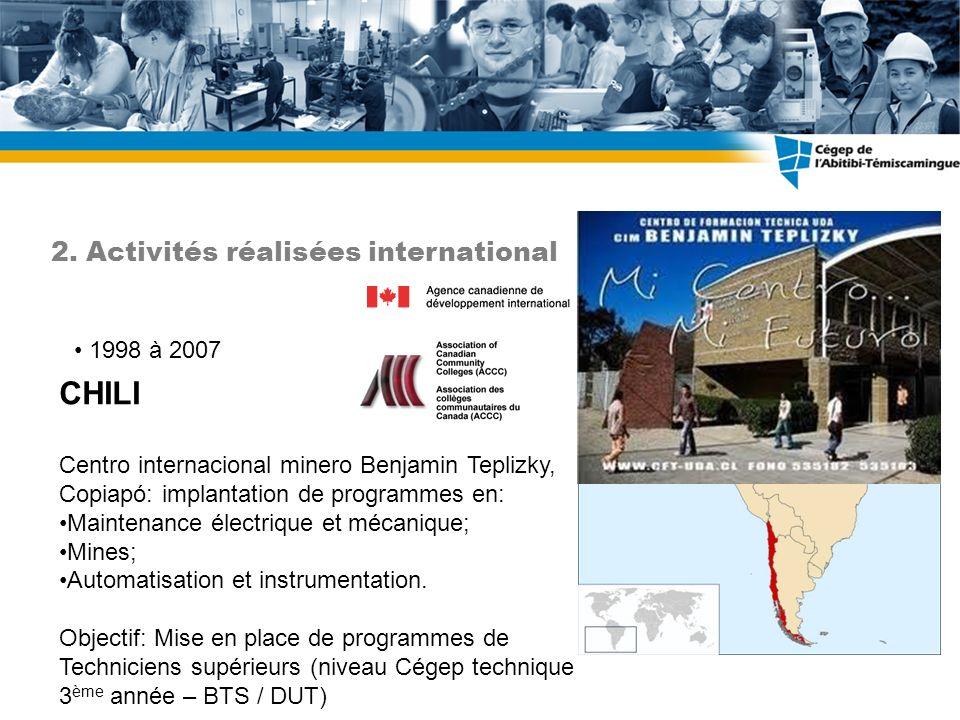 1998 à 2007 CHILI Centro internacional minero Benjamin Teplizky, Copiapó: implantation de programmes en: Maintenance électrique et mécanique; Mines; Automatisation et instrumentation.