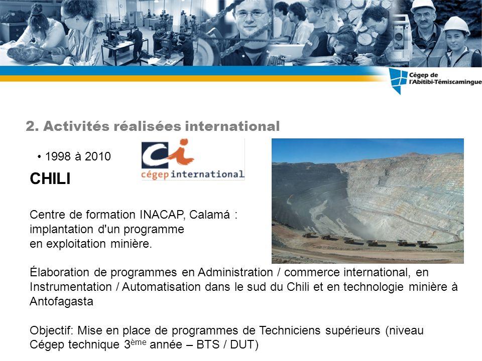 1998 à 2010 CHILI Centre de formation INACAP, Calamá : implantation d'un programme en exploitation minière. Élaboration de programmes en Administratio