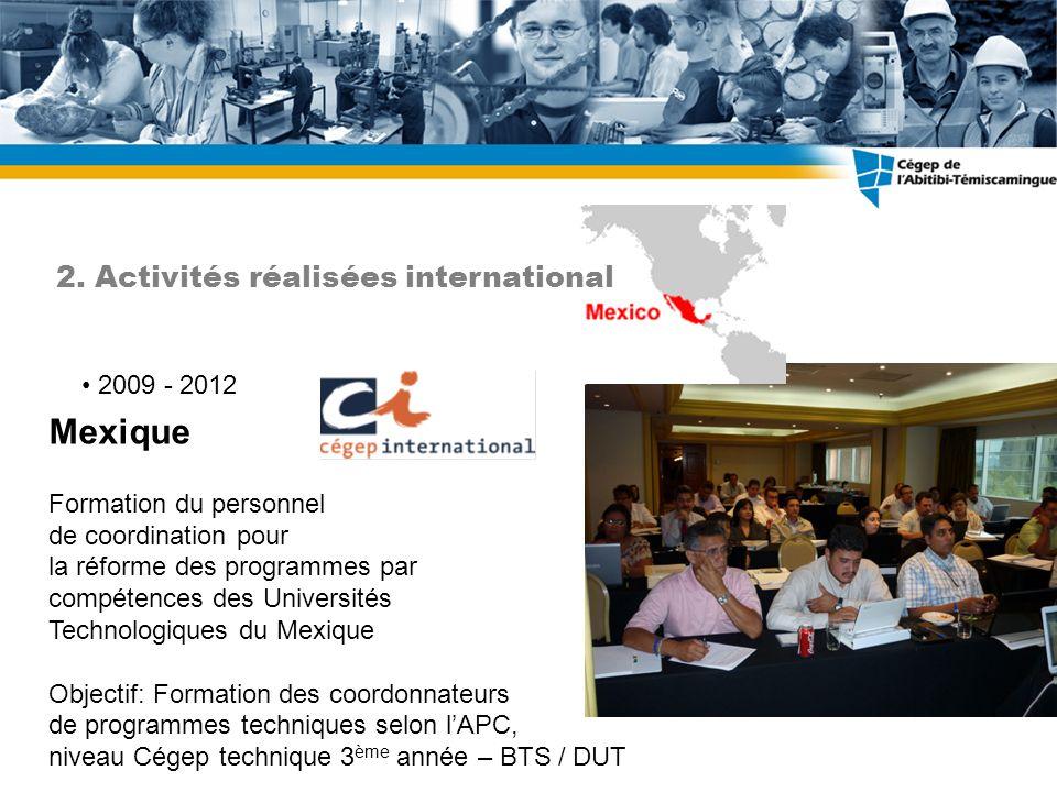 2009 - 2012 Mexique Formation du personnel de coordination pour la réforme des programmes par compétences des Universités Technologiques du Mexique Ob