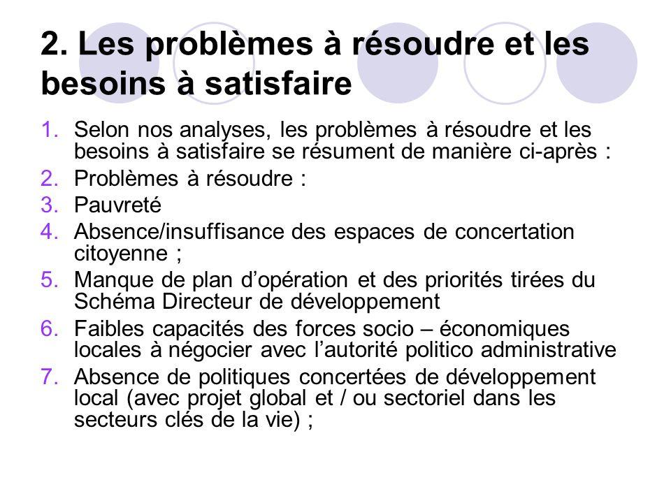 C. QUELQUES DÉFIS MAJEURS À RELEVER Situation post-conflit avec désarticulation du tissu social et économique ; Besoins de la réhabilitation des infra