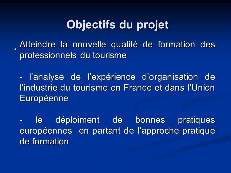 Objectifs du projet Atteindre la nouvelle qualité de formation des professionnels du tourisme - lanalyse de lexpérience dorganisation de lindustrie du tourisme en France et dans lUnion Européenne - le déploiment de bonnes pratiques européennes en partant de lapproche pratique de formation