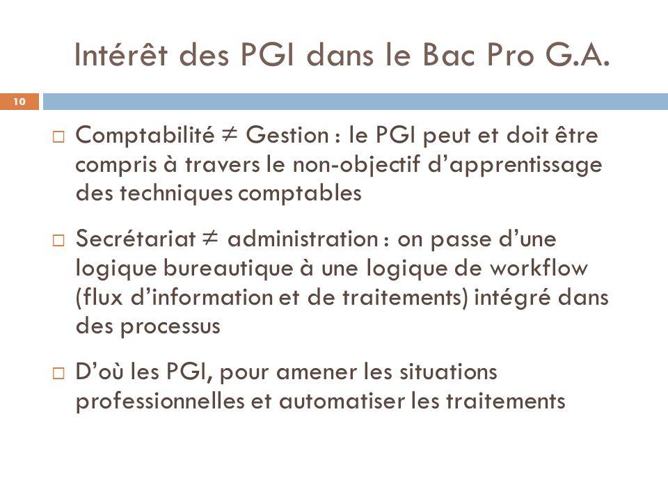 Utilisation des PGI dans le Bac Pro G.A.