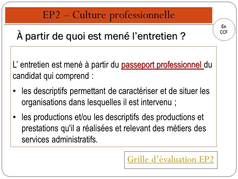 En CCF À partir de quoi est mené lentretien ? passeport professionnel L entretien est mené à partir du passeport professionnel du candidat qui compren