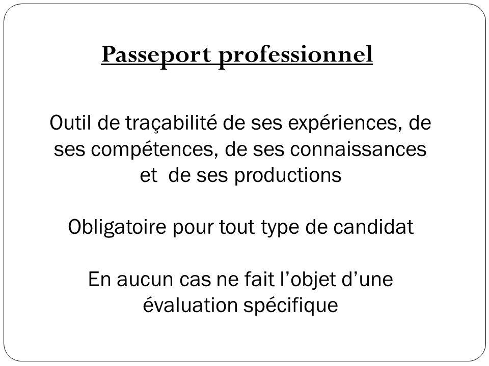 Passeport professionnel Outil de traçabilité de ses expériences, de ses compétences, de ses connaissances et de ses productions Obligatoire pour tout