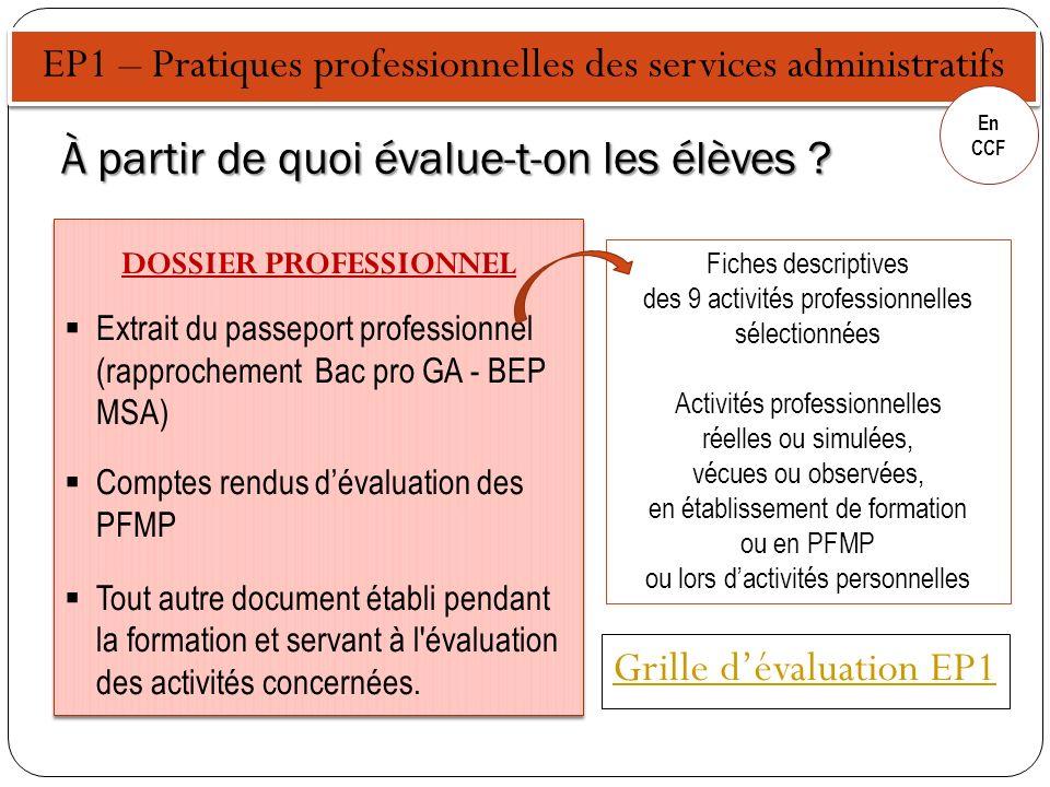 EP1 – Pratiques professionnelles des services administratifs En CCF Fiches descriptives des 9 activités professionnelles sélectionnées Activités profe