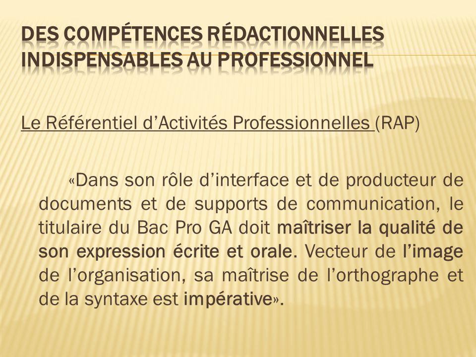 Le Référentiel dActivités Professionnelles (RAP) «Dans son rôle dinterface et de producteur de documents et de supports de communication, le titulaire