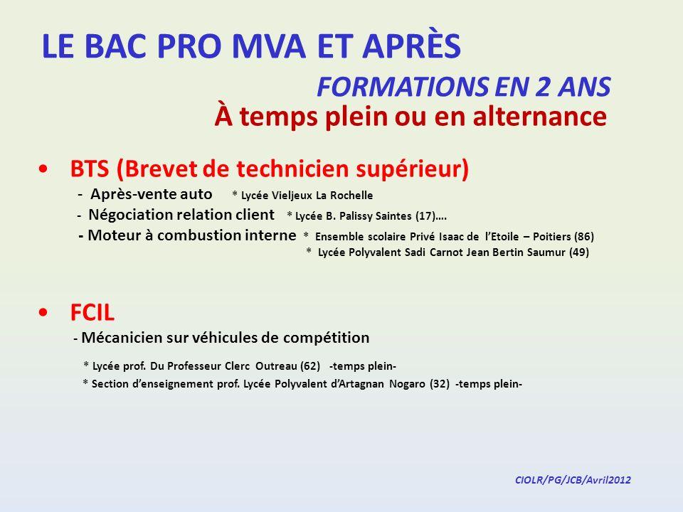 LE BAC PRO MVA ET APRÈS FORMATIONS EN 2 ANS * Lycée prof.