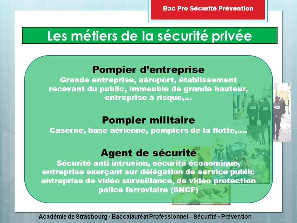 Académie de Strasbourg - Baccalauréat Professionnel – Sécurité - Prévention Bac Pro Sécurité Prévention Sécurité publique Sécurité civile Sécurité privée Lenseignement repose à part égale sur les trois composantes de la sécurité intérieure :