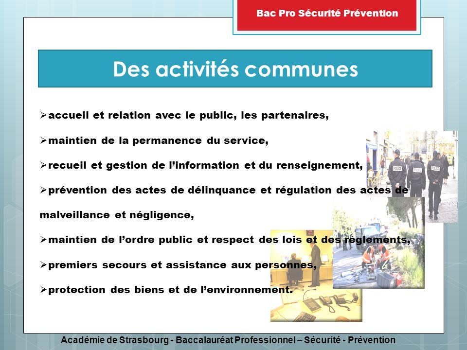 Académie de Strasbourg - Baccalauréat Professionnel – Sécurité - Prévention Bac Pro Sécurité Prévention accueil et relation avec le public, les parten