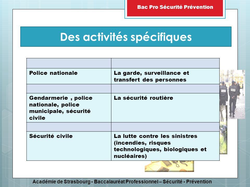 Académie de Strasbourg - Baccalauréat Professionnel – Sécurité - Prévention Bac Pro Sécurité Prévention une forte éthique personnelle, le sens du service au public, la capacité découter, de dialoguer, le sens du dévouement, le souci de rendre compte à sa hiérarchie la capacité à sintégrer dans un groupe, à travailler en équipe, le sens de la discipline et du respect des consignes, particulièrement en intervention, le sens de ses responsabilités vis-à-vis des autres membres du groupe, laptitude à observer un devoir de réserve, la confidentialité des informations et renseignements recueillis.