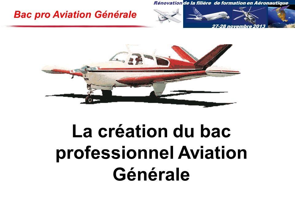 Rénovation de la filière de formation en Aéronautique 27-28 novembre 2013 Bac pro Aviation Générale La création du bac professionnel Aviation Générale