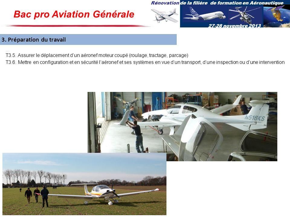 Rénovation de la filière de formation en Aéronautique 27-28 novembre 2013 3. Préparation du travail... T3.5. Assurer le déplacement dun aéronef moteur