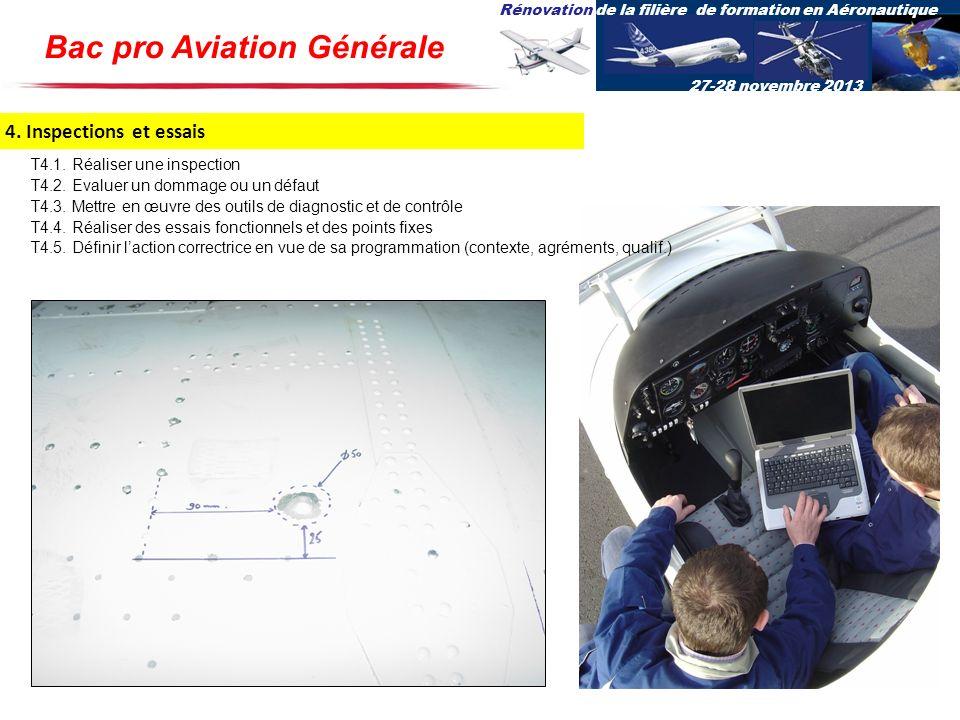 Rénovation de la filière de formation en Aéronautique 27-28 novembre 2013 4. Inspections et essais T4.1. Réaliser une inspection T4.2. Evaluer un domm