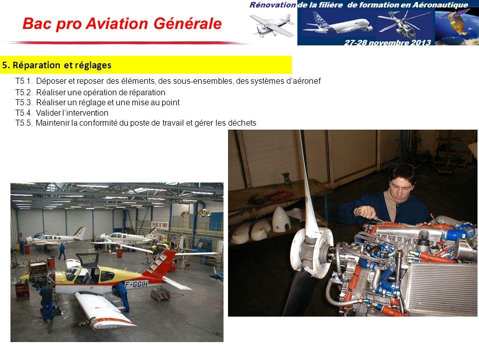 Rénovation de la filière de formation en Aéronautique 27-28 novembre 2013 5. Réparation et réglages T5.1. Déposer et reposer des éléments, des sous-en