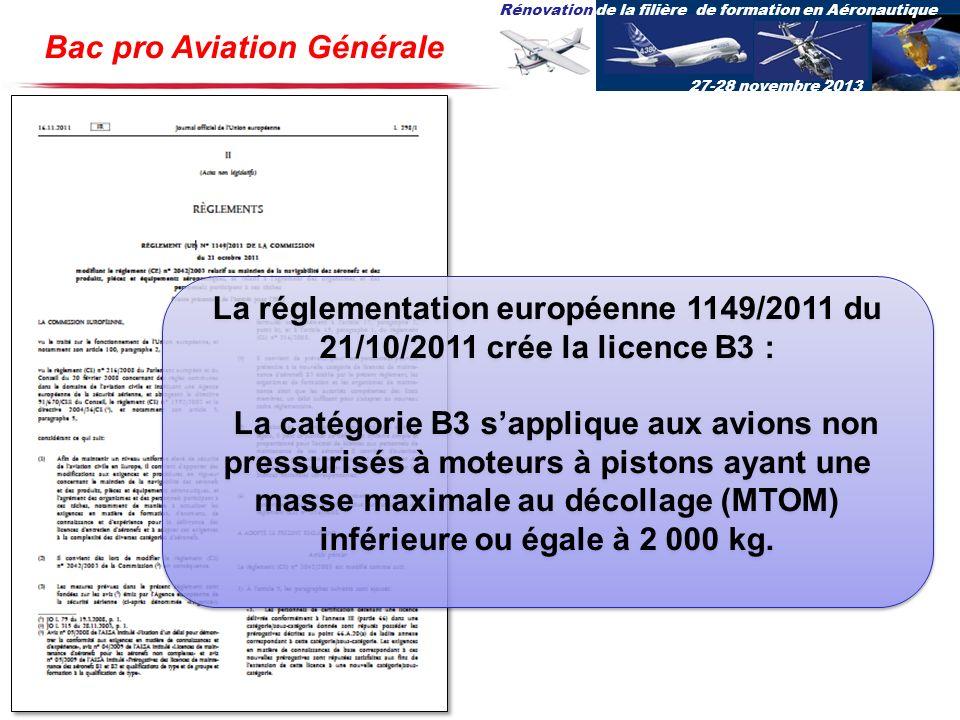 Rénovation de la filière de formation en Aéronautique 27-28 novembre 2013 Bac pro Aviation Générale La réglementation européenne 1149/2011 du 21/10/20