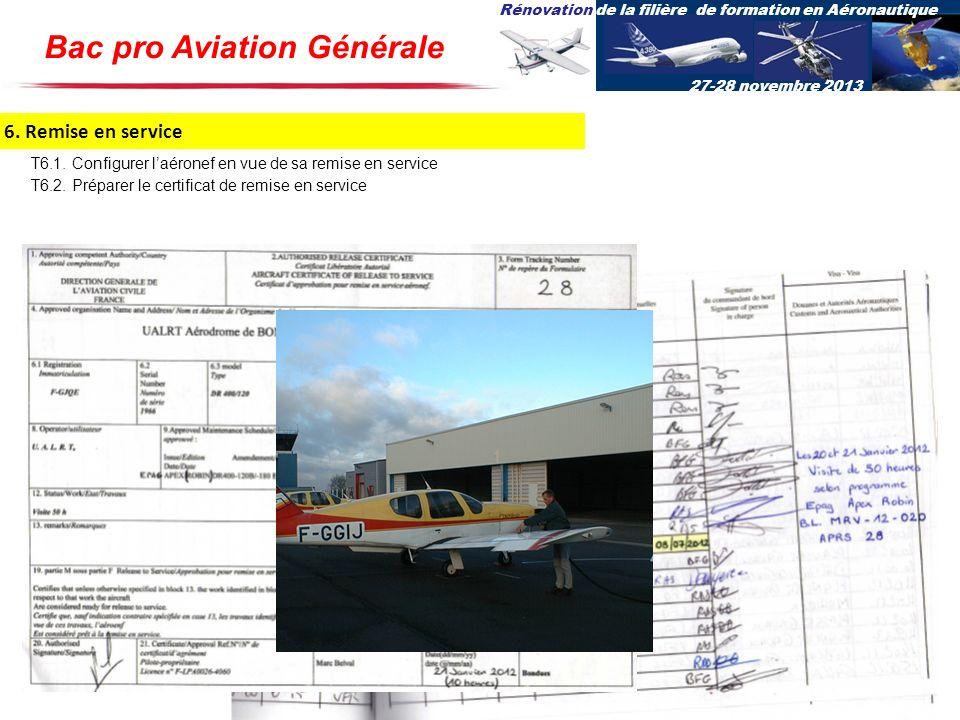 Rénovation de la filière de formation en Aéronautique 27-28 novembre 2013 6. Remise en service T6.1. Configurer laéronef en vue de sa remise en servic