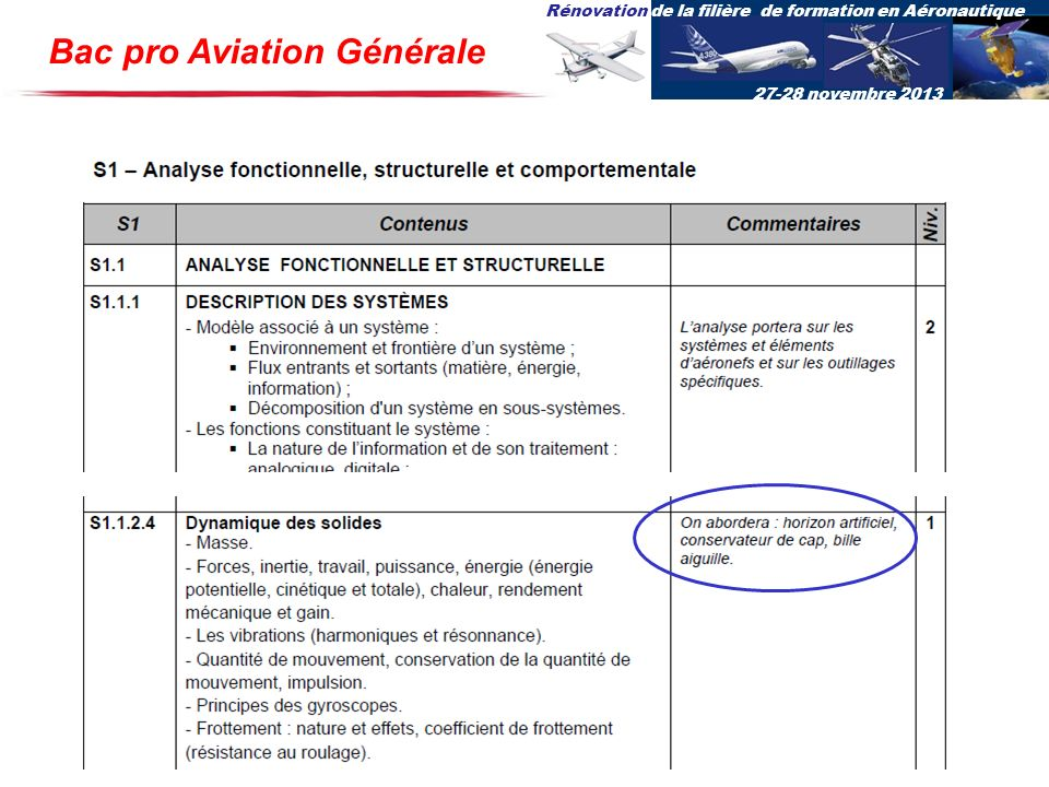 Rénovation de la filière de formation en Aéronautique 27-28 novembre 2013 Bac pro Aviation Générale
